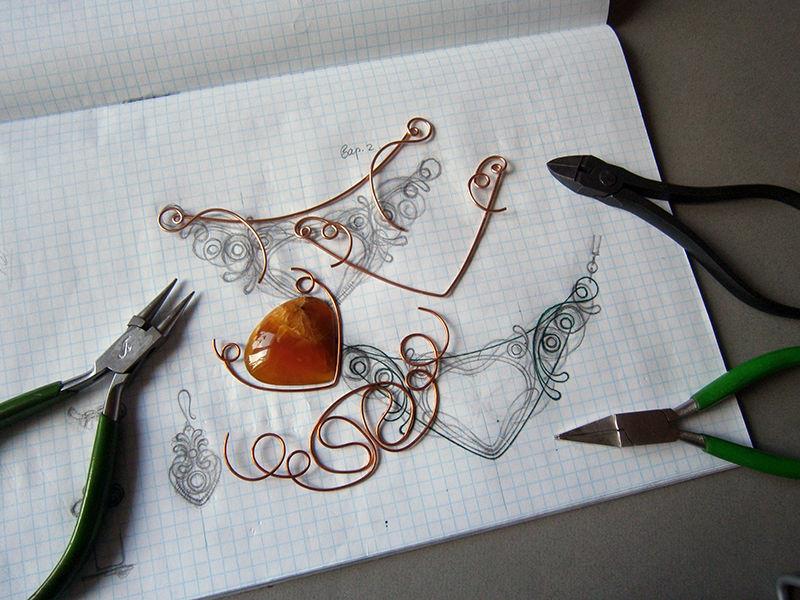 wire work, создание колье