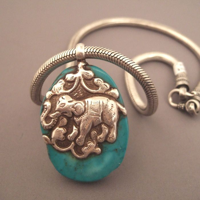 Nepalese pendant in turquoise and silver
