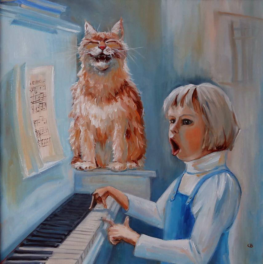 кошка, кот, девочка, пианино, музыка, мария павлова, подарок