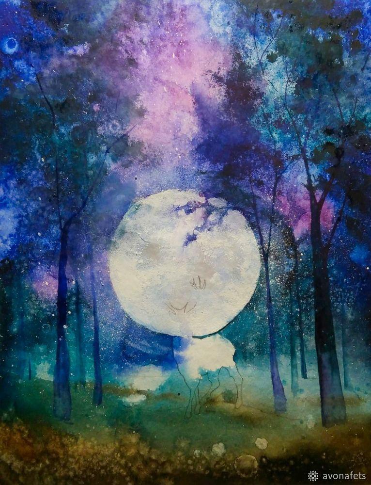 Рисуем акварелью волшебный лес с оленем, фото № 15