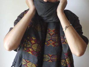 15% скидка на палантин из шерсти тибетского яка. Палантин цвета графит. Ярмарка Мастеров - ручная работа, handmade.