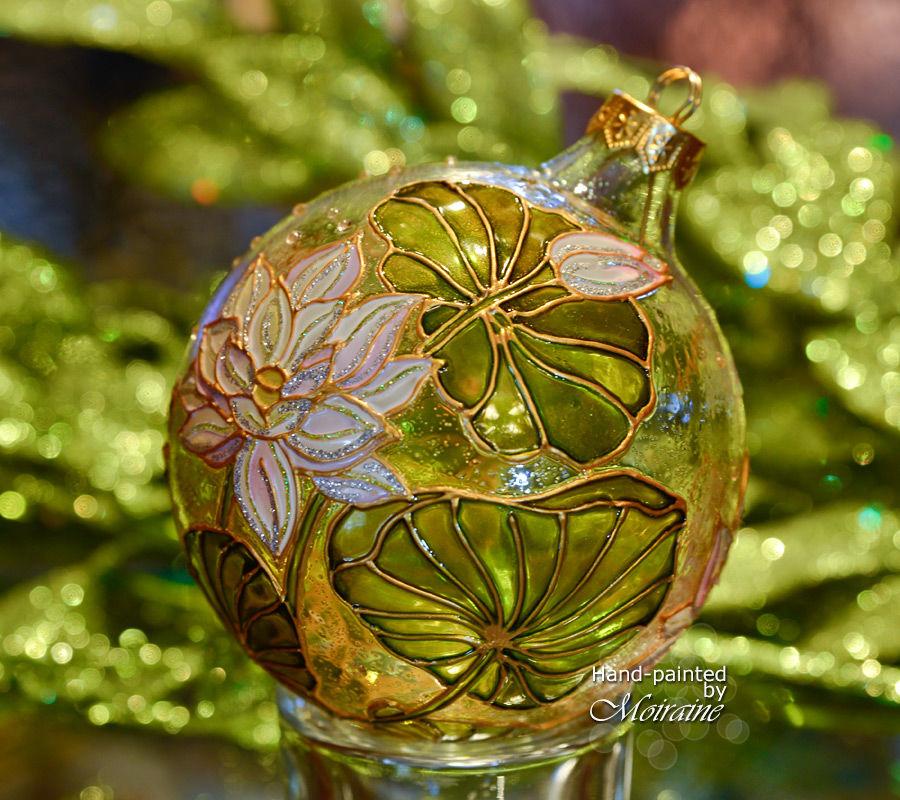 елочный шар, новогодний шар, витражная роспись, богемское стекло, елочные игрушки