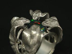 Кольцо со змеями. Кольцо с коброй. Кольцо с черным опалом. Ярмарка Мастеров - ручная работа, handmade.