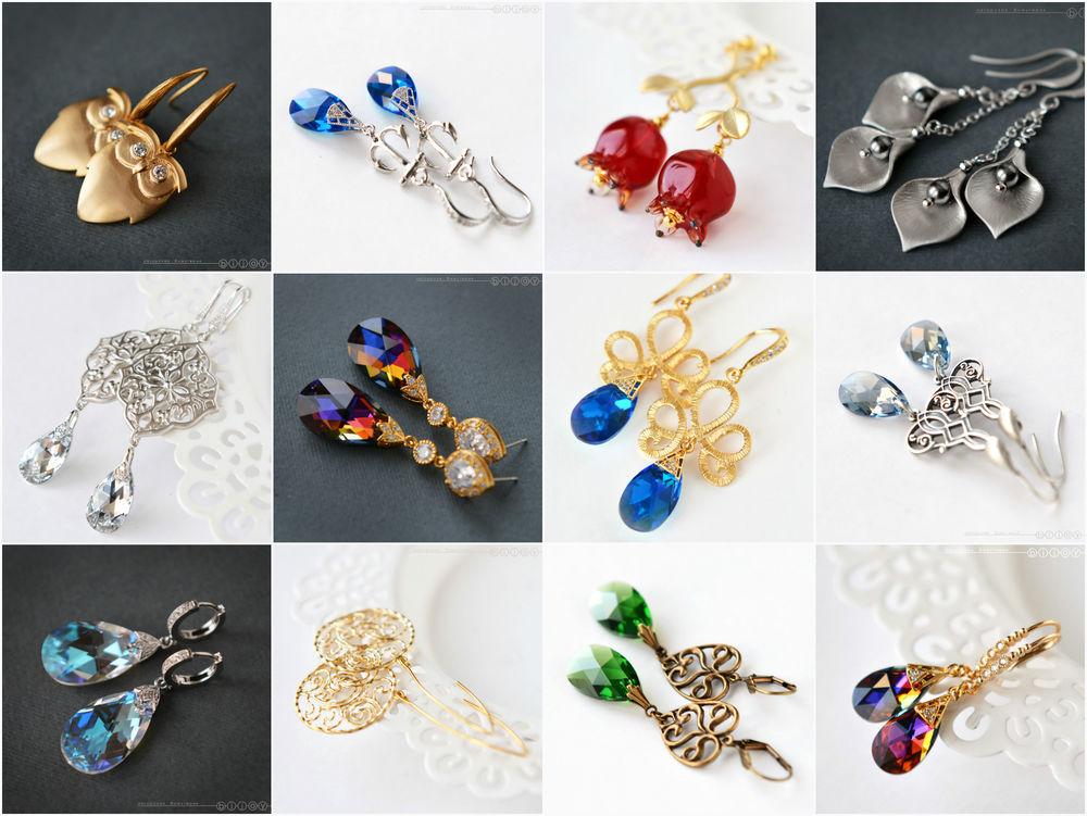 серьги серебро, украшения из бирюзы