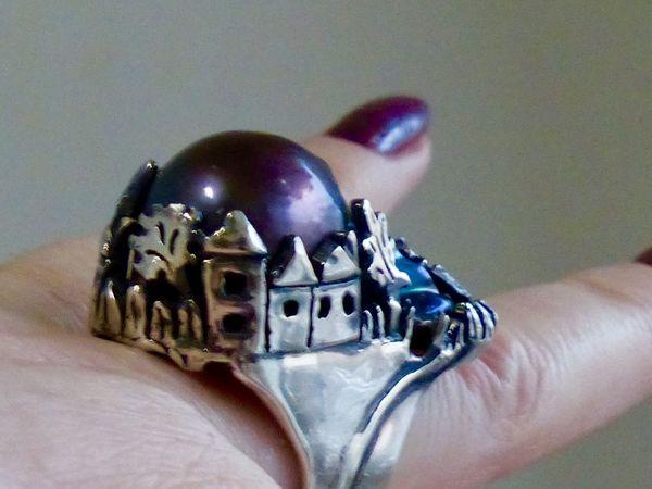 Новое кольцо ДОМИКИ серебро 925, барочный жемчуг   Ярмарка Мастеров - ручная работа, handmade
