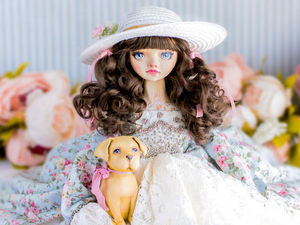 Бьянка  и её друг Стефан авторская кукла, интерьерная  коллекционная кукла, будуарная кукла, новогодний подарок. Ярмарка Мастеров - ручная работа, handmade.
