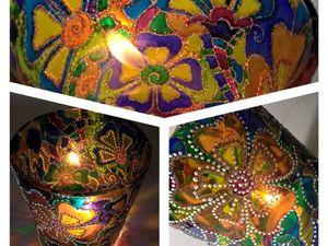 Роспись подсвечника витражными красками   Ярмарка Мастеров - ручная работа, handmade