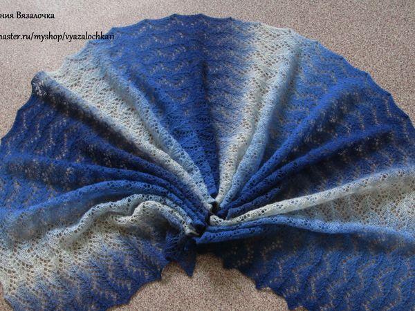 Вяжем ажурный палантин Кауни Blue (Blue-White) | Ярмарка Мастеров - ручная работа, handmade