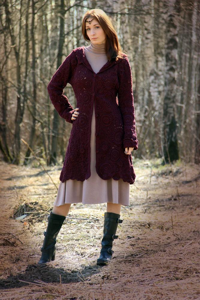 вязаная одежда, пальто вязаное, рустик, пальто
