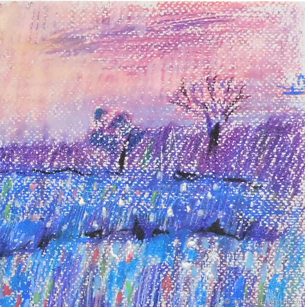 Drawing Flower Field with Oil Pastel, фото № 4