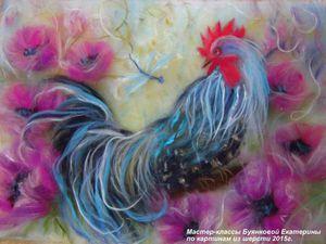 Мастер-класс по картинам из шерсти  - Новогодний символ Петух | Ярмарка Мастеров - ручная работа, handmade