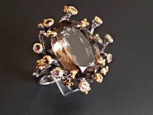 Серебряное кольцо: дымчатый кварц, аметист