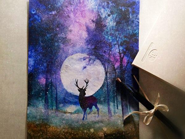 Рисуем акварелью волшебный лес с оленем | Ярмарка Мастеров - ручная работа, handmade