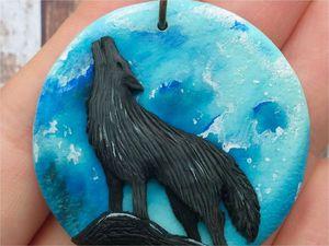 Видео мастер-класс: делаем кулон «Волк, воющий на луну» из полимерной глины. Ярмарка Мастеров - ручная работа, handmade.