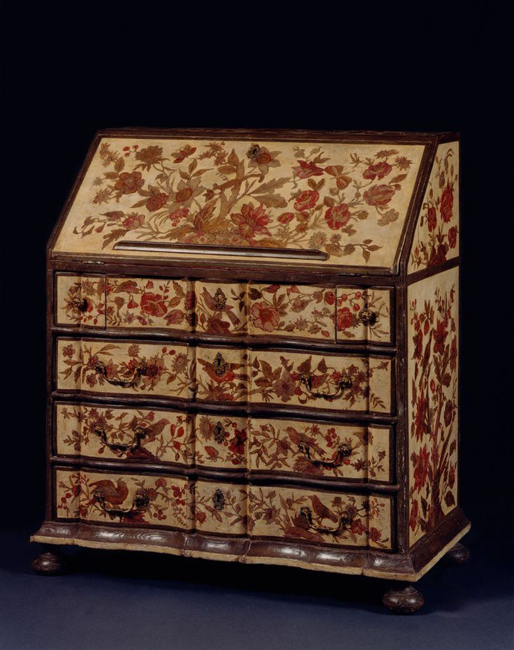 AN UNUSUAL WHITE PAINTED AND SILK DECOUPAGE DECORATED BUREAU c.1760: