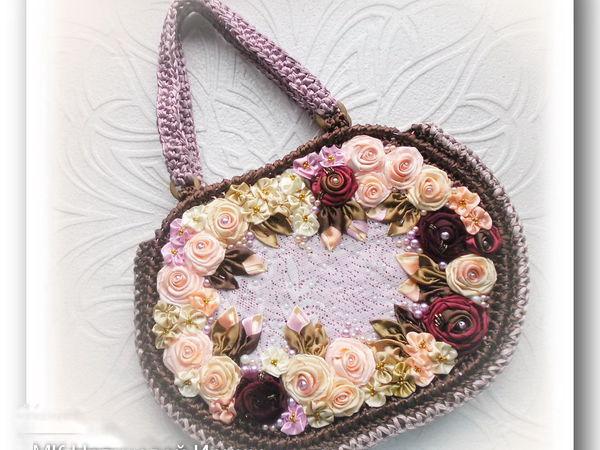Вяжем сумку из атласной ленты | Ярмарка Мастеров - ручная работа, handmade