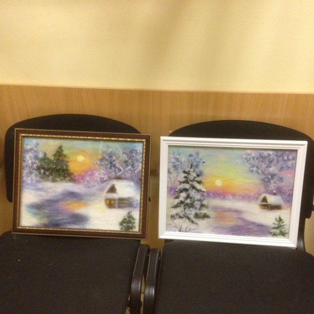 картины из сухой шерсти, мастер-классы, пейзаж с домиком, картина своими руками