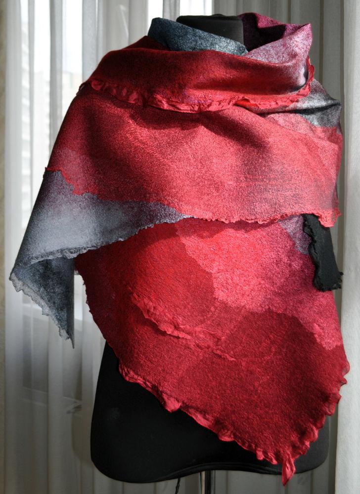 Мастер-класс Сухопаровой Татьяны по созданию тонкого палантина в технике нунофелтинг. Маргиланский шелк для работы в подарок!, фото № 12