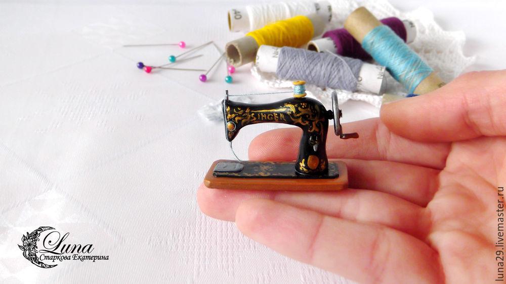 швейная машинка, кукольная миниатюра, аксессуар для кукол, миниатюра, кукольный дом, румбокс, полимерная глина, урок лепки