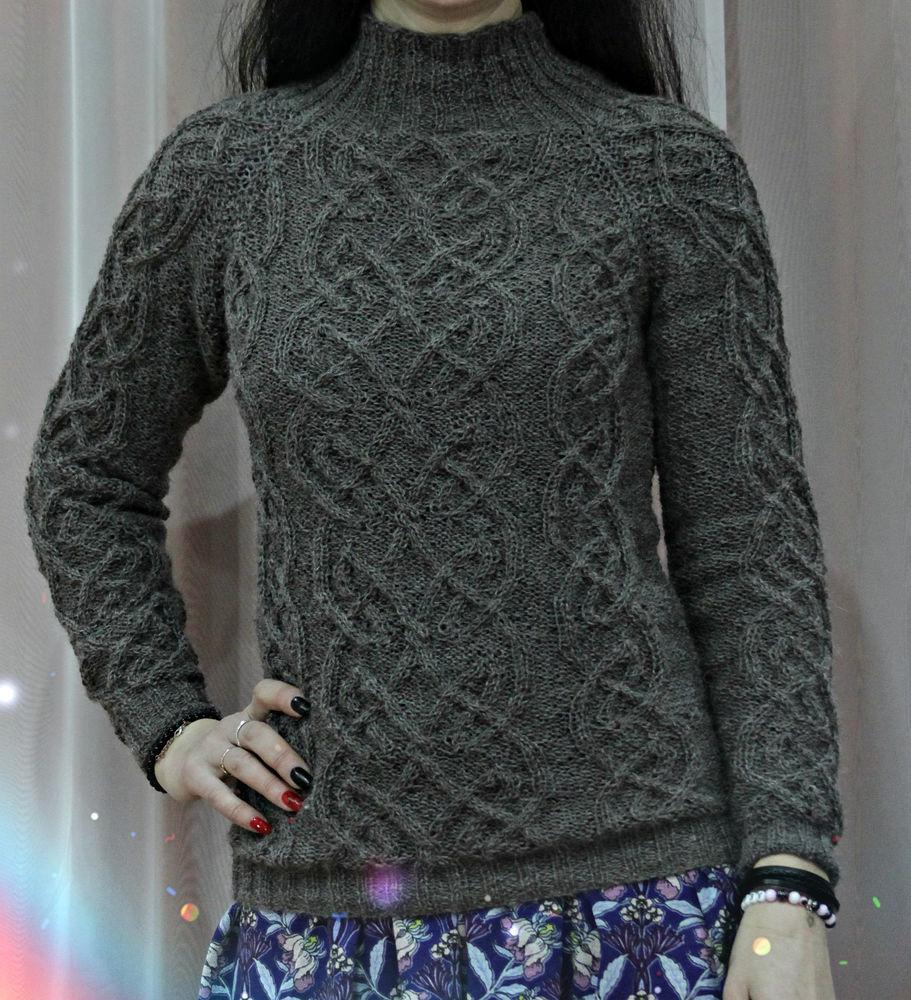 свитер вязаный, свитер женский, свитер спицами, свитер с аранами, свитер теплый, свитер тонкий, свитер кельтские мотивы