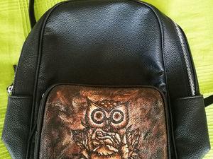 Рисуем сову на кожаном рюкзаке. Ярмарка Мастеров - ручная работа, handmade.