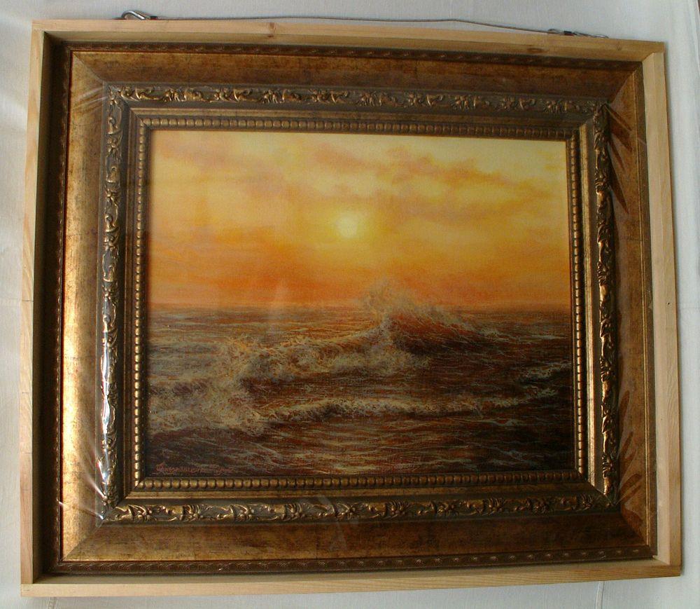 волна, картина море, закат на море, картина маслом море