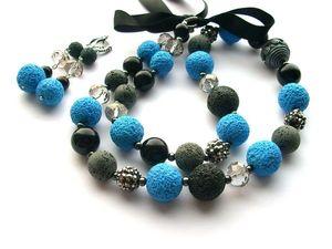Ожерелье-трансформер и серьги Синий туман полимерная глина гематит стразы агат. Ярмарка Мастеров - ручная работа, handmade.
