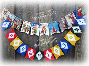 Новогодние флажки для украшения елки.. Ярмарка Мастеров - ручная работа, handmade.