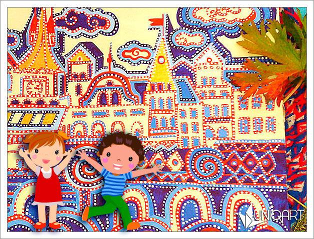 живопись, фантазия, картина для интерьера, домики, настенное панно