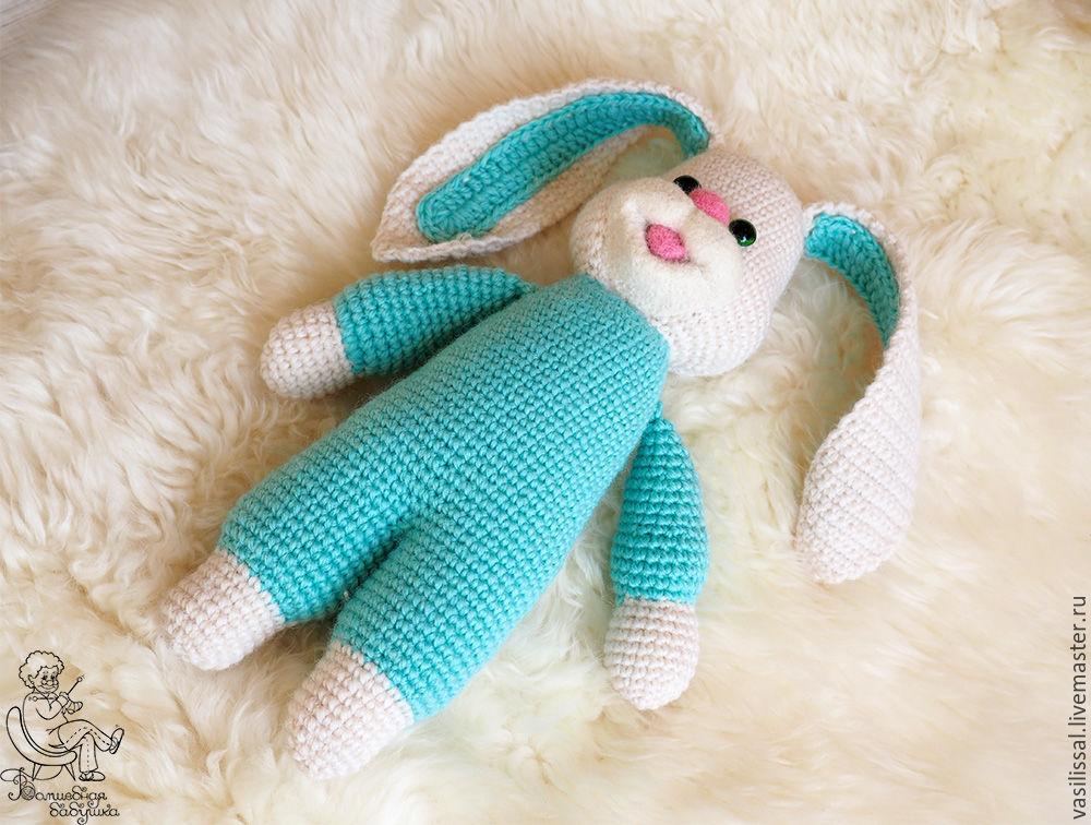 вязаная игрушка заяц, заяц игрушка