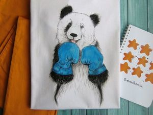 """Новая футболка с ручной росписью """"Панда""""!. Ярмарка Мастеров - ручная работа, handmade."""