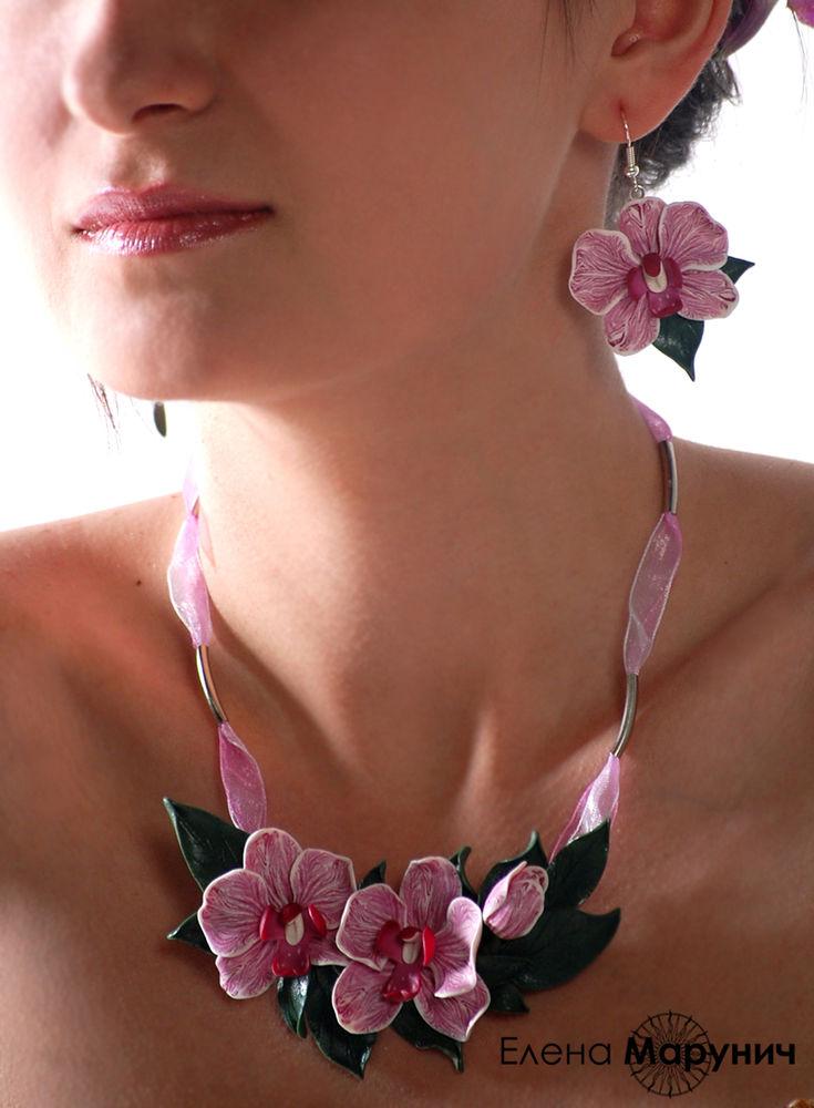 украшения с орхидеями, орхидеи из пластики, авторские украшения, цветы из полимерной глины, украшения из полимерной глины, орхидеи из полимерной глины
