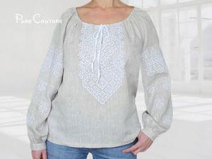 НОВИНКА - Вышитая блуза льняная Блузка из льна Летняя блузка небеленый лен. Ярмарка Мастеров - ручная работа, handmade.
