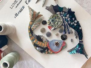 Очаровательные рыбки, выполненные в технике люневильской вышивки Monica Calles. Ярмарка Мастеров - ручная работа, handmade.