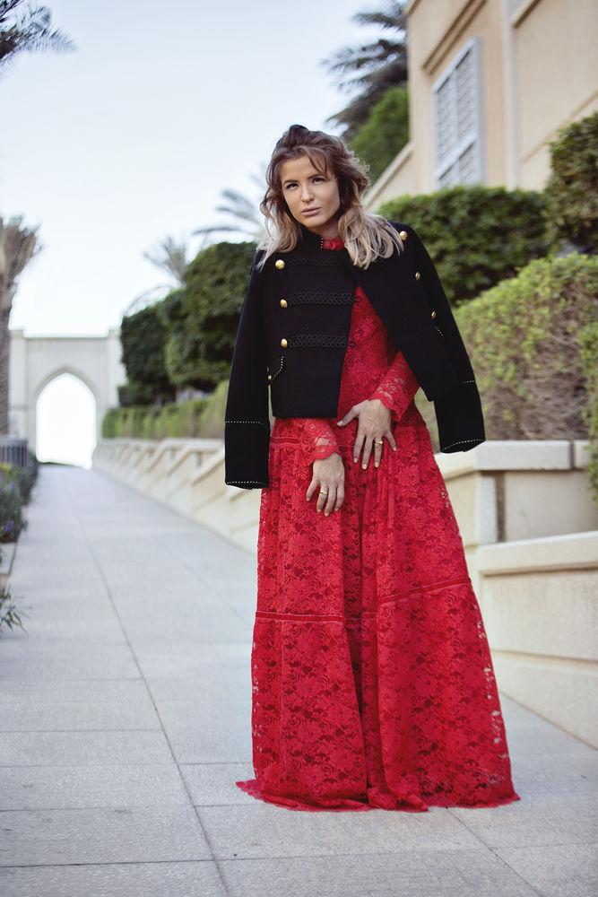 красное кружево, платье в пол, дизайнерская одежда