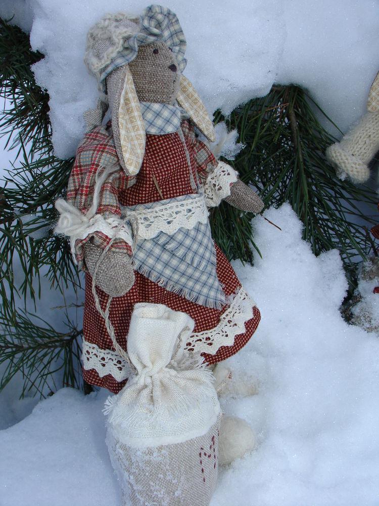 зайцы, текстильная кукла, авторская игрушка