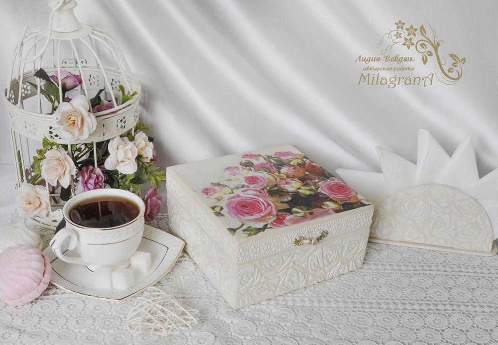шкатулка для чая, декупаж чайной шкатулки, шкатулка для хранения чая, нежная шкатулка