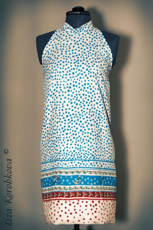 сарафан, пляжная мода, платье в горошек
