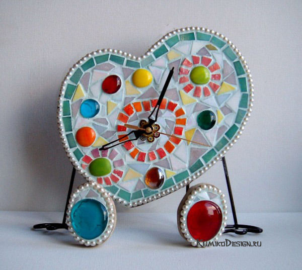 Авторские часы из мозаики, дизайнер Юлия Дружинина