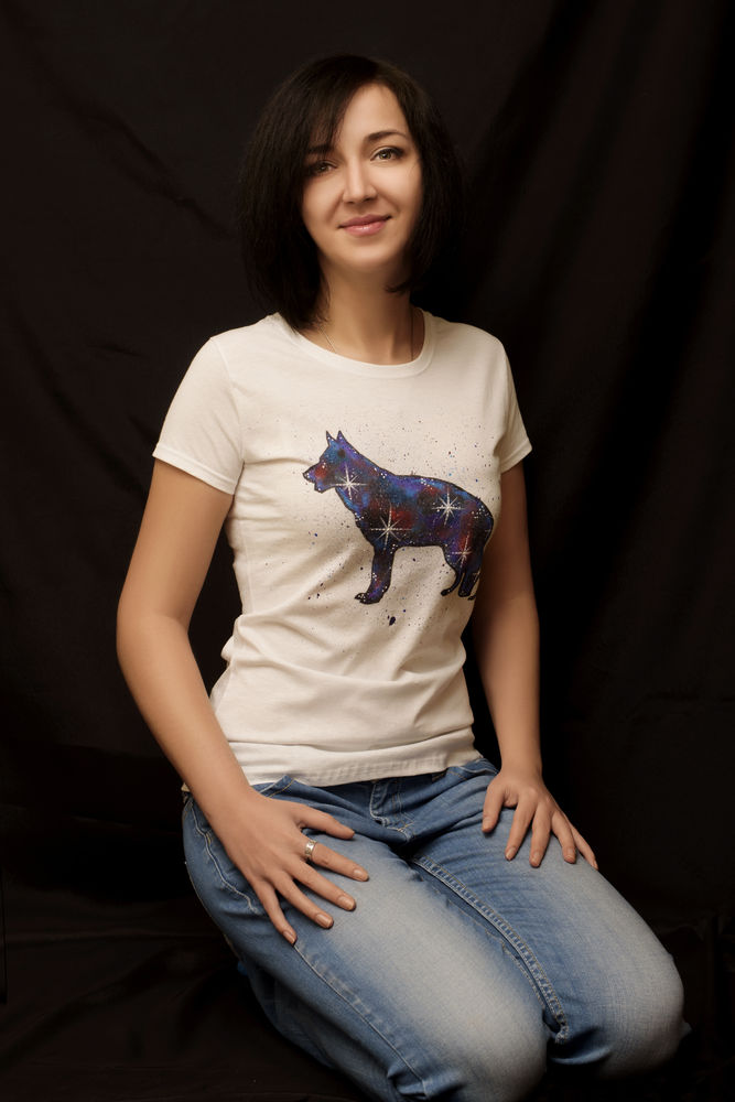 роспись футболок, футболка с росписью, овчарка