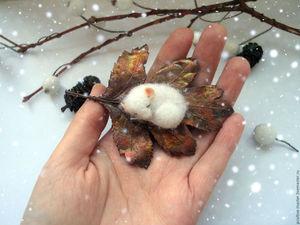 Мышь на листе))Брошь | Ярмарка Мастеров - ручная работа, handmade