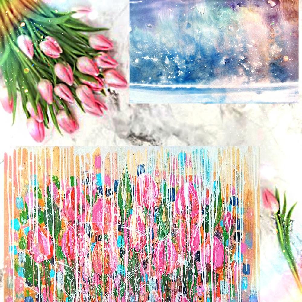 подарок на 8 марта, весна цветы тюльпаны, розовая картина