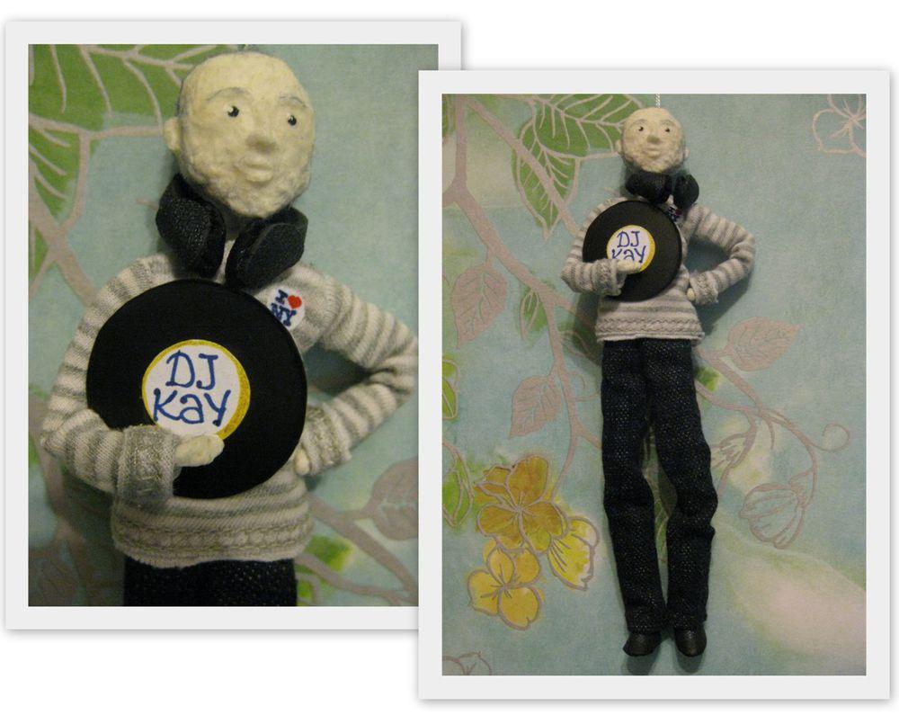 авторская кукла, кукла, музыка, наушники, пластинка