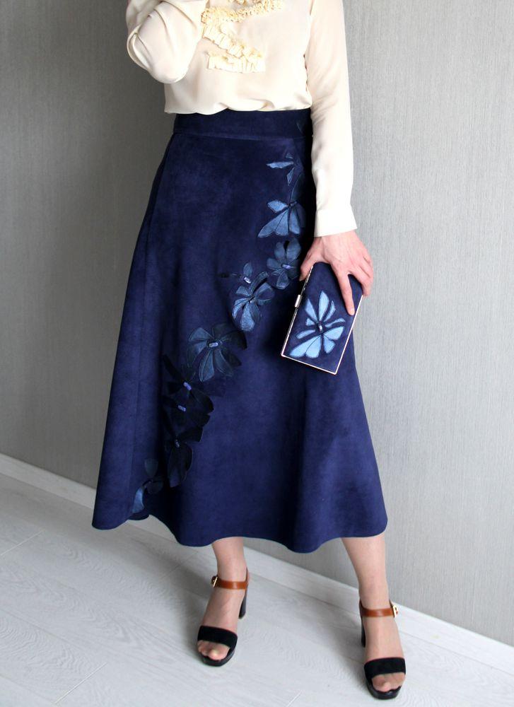 юбка на заказ, клатч, натуральная замша