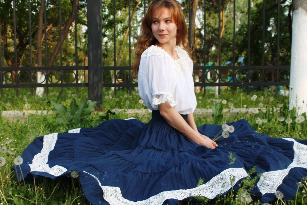 бохо юбка, юбка с кружевом