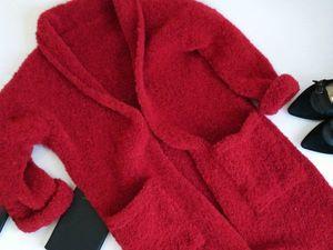 Кардиган из итальянского стрейчивого букле,темно красный!. Ярмарка Мастеров - ручная работа, handmade.