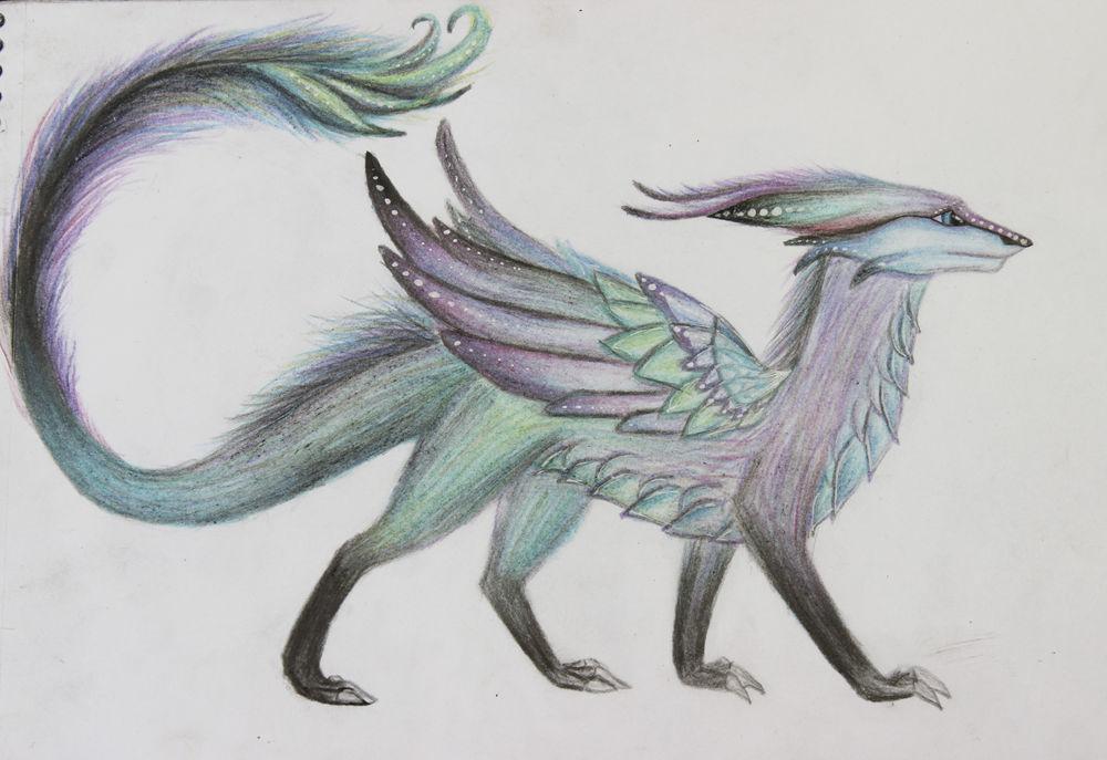 рисование, девочка и драконы