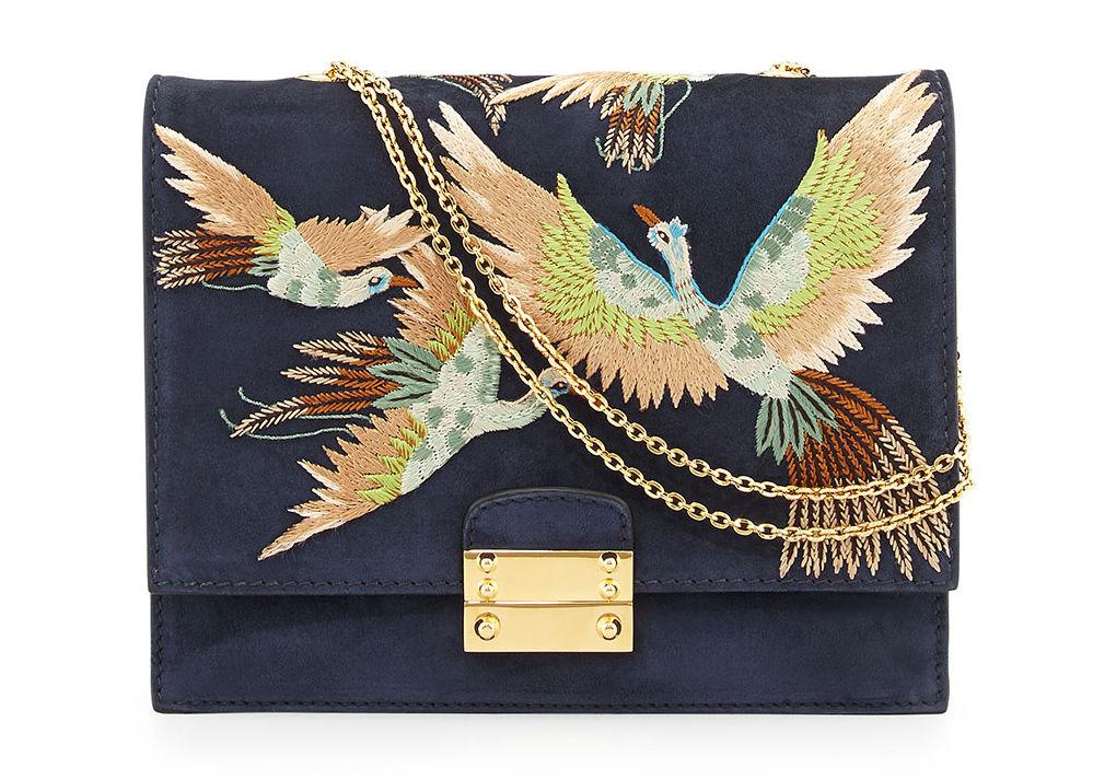 вышитые птицы, летняя сумка с птицами, модный клатч