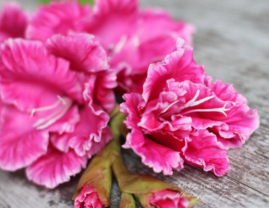 цветы из глины