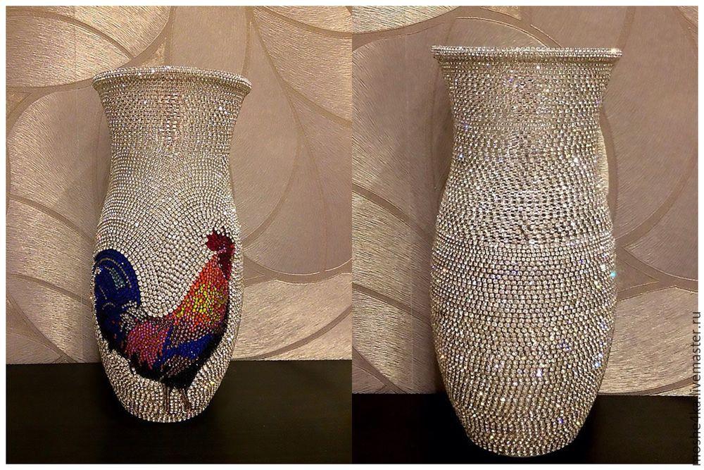 как обклеить старую вазу цветными камнями фото сосисками простое